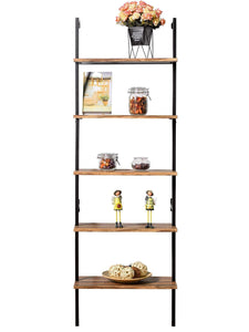 Save ironck industrial ladder shelf bookcase 5 tier wood shelves wall mounted stable expand space bookshelf retro wall decor furniture for living room kitchen bar storage