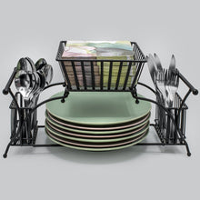 Load image into Gallery viewer, Discover the sorbus utensil caddy use for napkin cutlery plate holder stackable flatware caddy tabletop organizer ideal for dining table party buffet kitchen entertaining black
