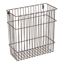 Load image into Gallery viewer, Featured mdesign metal wire wall mount kitchen storage organizer basket trash can for cabinet and pantry doors holds bags tin foil wax paper saran wrap solid steel bronze
