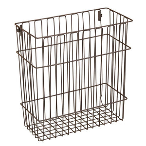 Featured mdesign metal wire wall mount kitchen storage organizer basket trash can for cabinet and pantry doors holds bags tin foil wax paper saran wrap solid steel bronze