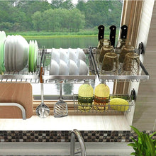 Load image into Gallery viewer, Latest shelf liners kitchen shelf stainless steel dish rack sink rack kitchen homeware storage rack pool shelf dish rack storage organization color silver size 8049cm