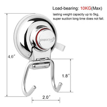 Load image into Gallery viewer, Explore jinruche suction cup hooks strong stainless steel hooks for kitchen bathroom towel robe shower bath coat removable hooks for flat smooth wall surface never rust stainless steel 2 pack