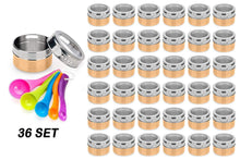 Load image into Gallery viewer, Great stainless steel magnetic spice jars bonus measuring spoon set airtight kitchen storage containers stack on fridge to save counter cupboard space 36pc organizers in gold