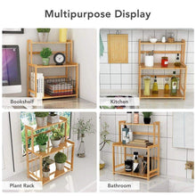 Load image into Gallery viewer, Explore 3 tier standing spice rack little tree kitchen bathroom countertop storage organizer bamboo spice bottle jars rack holder with adjustable shelf bamboo