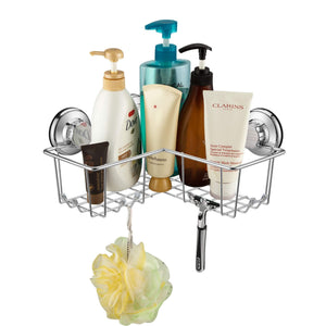 New blitzlabs shower caddy with suction cup corner basket shelf with hooks shampoo holder stainless steel bathroom accesoories for bathroom kitchen rustproof