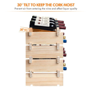 Order now defway wood wine rack countertop stackable storage wine holder 12 bottle display free standing natural wooden shelf for bar kitchen 4 tier natural wood