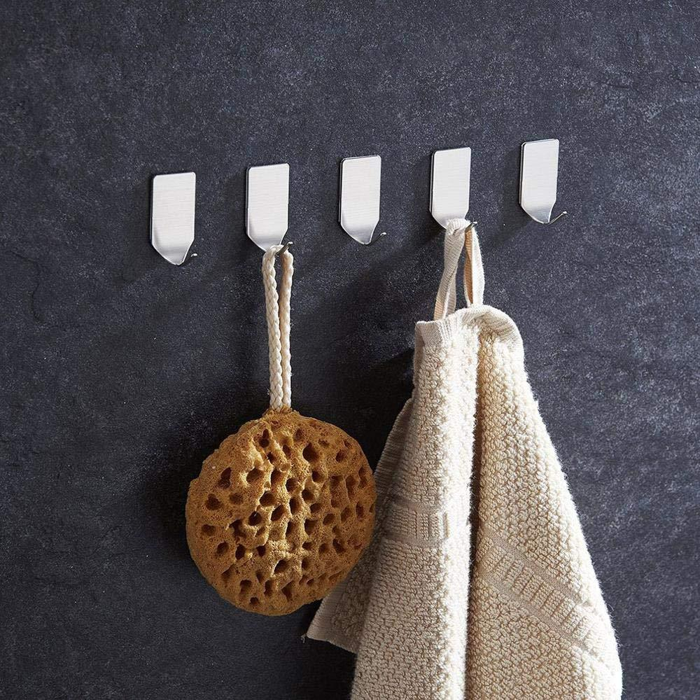 Purchase adhesive hooks heavy duty wall hooks made from 304 stainless steel thats waterproof for coat towel hook keys bags kitchen and bathroom 16 pack