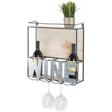 Load image into Gallery viewer, Discover the best wall mounted wine rack wine bottle holder wine glass holder holds 4 bottle of wine and 4 glasses includes decorative wood accents and top shelf perfect home kitchen decor