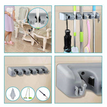 Load image into Gallery viewer, Budget shsycer mop and broom holder wall mounted garden storage rack 5 position with 6 hooks garage holds up to 11 tools for garage garden kitchen laundry offices