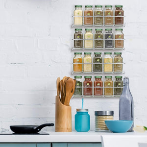 Purchase gorgeous spice rack organizer for cabinets or wall mounts space saving set of 4 hanging racks perfect seasoning organizer for your kitchen cabinet cupboard or pantry door