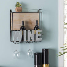 Load image into Gallery viewer, Exclusive wall mounted wine rack wine bottle holder wine glass holder holds 4 bottle of wine and 4 glasses includes decorative wood accents and top shelf perfect home kitchen decor