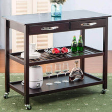 Load image into Gallery viewer, Organize with lz leisure zone rolling kitchen island serving cart wood trolley w countertop 2 drawers 2 shelves and lockable wheels dark brown