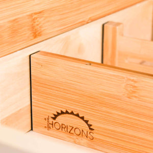 Discover the horizons adjustable stackable 100 eco friendly bamboo drawers set of 6 kitchen drawer desk dresser bathroom divide organize