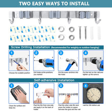 Load image into Gallery viewer, Storage organizer mop broom holder wall mounted 3 position 4 hooks saving space storage rack stainless steel tool holder ideal utility racks for room kitchen bathroom garden garage offices light grey