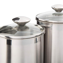 Load image into Gallery viewer, Top rated beautiful canisters sets for the kitchen counter 8 piece stainless steel medium sized with glass lids and measuring cups silveronyx tea coffee sugar flour canisters 8pc glass lids