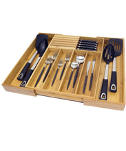Load image into Gallery viewer, Try expandable bamboo kitchen drawer organizer w built in solid bamboo knife block 100 eco friendly adjustable bamboo kitchen utensil cutlery tray
