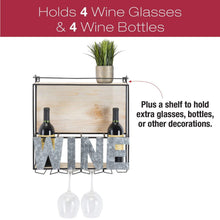 Load image into Gallery viewer, Get wall mounted wine rack wine bottle holder wine glass holder holds 4 bottle of wine and 4 glasses includes decorative wood accents and top shelf perfect home kitchen decor