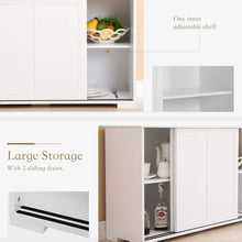 Load image into Gallery viewer, Buy now mecor sideboards and storage cabinet white kitchen buffet cabinet server table with 2 sliding doors 1 shelf dining room furniture