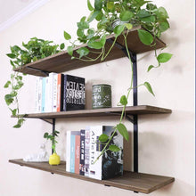 Load image into Gallery viewer, Cheap puncia 48 industrial long pine solid wood wall floating storage shelf farmhouse kitchen bar display wooden wall bookcase tool shelves 48in x 12in x 0 8in x 3 tiers l brown
