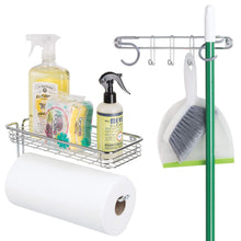 Load image into Gallery viewer, Shop for mdesign wall mount metal storage organizers for kitchen includes paper towel holder with multi purpose shelf and broom mop holder with 3 hooks for pantry laundry garage 2 piece set chrome