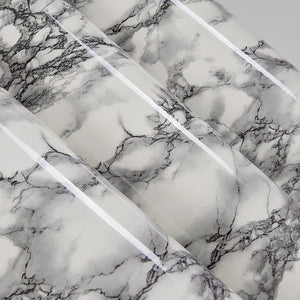 Budget self adhesive black white marble gloss vinyl contact paper for kitchen countertop cabinets backsplash wall crafts projects 24 by 117 inches