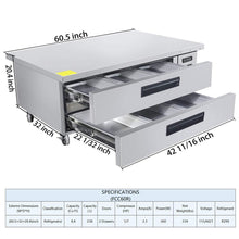 Load image into Gallery viewer, Storage organizer commercial 2 drawer refrigerated chef base kitma 60 inches stainless steel chef base work table refrigerator kitchen equipment stand 33 f 38 f