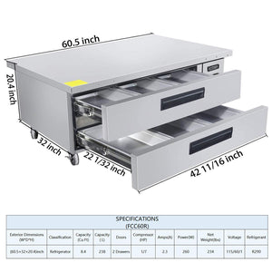 Storage organizer commercial 2 drawer refrigerated chef base kitma 60 inches stainless steel chef base work table refrigerator kitchen equipment stand 33 f 38 f
