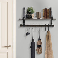 Load image into Gallery viewer, Buy now sorbus wall shelf with hooks rustic wood rack with towel bar and 8 removable hooks for wall mounted storage organization in kitchen bathroom hallway etc wall shelf grey