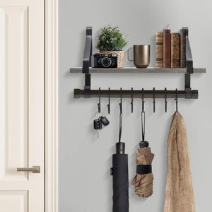Buy now sorbus wall shelf with hooks rustic wood rack with towel bar and 8 removable hooks for wall mounted storage organization in kitchen bathroom hallway etc wall shelf grey