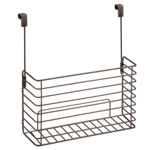Budget friendly mdesign metal over cabinet kitchen storage organizer holder or basket hang over cabinet doors in kitchen pantry holds bakeware cookbook cleaning supplies 2 pack steel wire in bronze