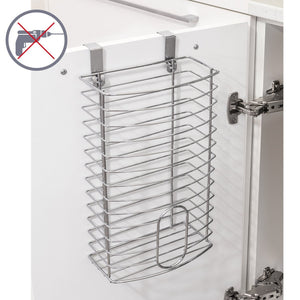 Discover the tatkraft fun grocery bag holder bag dispenser over the door kitchen storage basket chromed steel