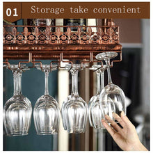 Load image into Gallery viewer, Budget warm van industrial vintage metal bar wine glass hanging rack retro upside down stemware goblet wine glass holder tableware bottle floating shelf for home kitchen bronze 47 2l