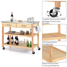 Load image into Gallery viewer, Related giantex kitchen trolley cart rolling island cart serving cart large storage with stainless steel countertop lockable wheels 2 drawers and shelf utility cart for home and restaurant solid pine wood