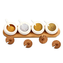 Load image into Gallery viewer, Heavy duty ruckae ceramic condiment jar spice container with bamboo lid porcelain spoon wooden tray set of 4 white 170ml5 8 oz perfect spice storage for home kitchen counter