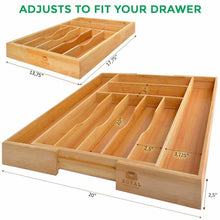 Load image into Gallery viewer, Discover the bamboo kitchen drawer organizer expandable silverware organizer utensil holder and cutlery tray with grooved drawer dividers for flatware and kitchen utensils by royal craft wood