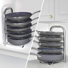 Load image into Gallery viewer, Discover the heavy duty cast iron pan and pot organizer rack 5 height adjustable shelves kitchen skillets cookware holder stainless steel 15 tall