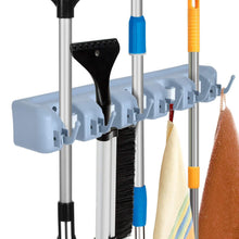 Load image into Gallery viewer, Cheap auwey broom mop holder wall mount with hook gripper slot garden storage rack mop broom handle kitchen storage garage garden tools commercial organizer grey 5 position 6 hooks