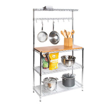 Load image into Gallery viewer, Great seville classics bakers rack for kitchens solid wood top 14 x 36 x 63 h