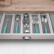 Load image into Gallery viewer, Heavy duty sorbus utensil drawer organizer expandable cutlery drawer trays for silverware serving utensils multi purpose storage for kitchen office bathroom supplies utensil drawer organizer white