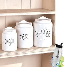 Load image into Gallery viewer, Related gift included white farmhouse kitchen countertop sugar tea coffee canister set free bonus water bottle by home cricket homecricket