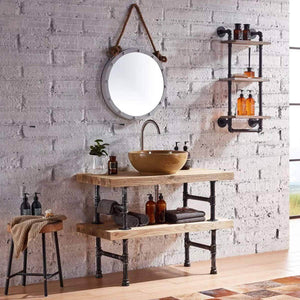 Selection warm van industrial pipe wood wall mount shelves retro clapboard tool shelf bathroom kitchen accessories storage cabinet towel rack