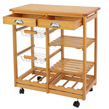 Load image into Gallery viewer, Selection nova microdermabrasion rolling wood kitchen island storage trolley utility cart rack w storage drawers baskets dining stand w wheels countertop wood