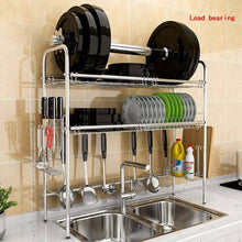 Load image into Gallery viewer, New stainless steel sink drain rack storage shelf dish rack cutting board knife chopstick holder kitchen shelves multi style optional color silver design b double slot