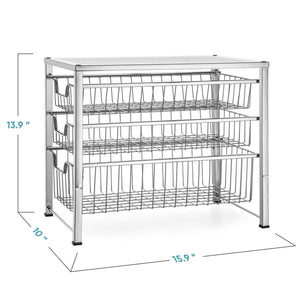 Purchase bextsware cabinet basket organizer with 3 tier wire grid sliding drawer multi function stackable mesh storage organizer for kitchen counter desktop bathroom under sinkchrome
