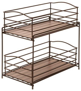 Exclusive seville classics 2 tier sliding basket drawer kitchen counter and cabinet organizer bronze