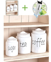 Load image into Gallery viewer, Save gift included white farmhouse kitchen countertop sugar tea coffee canister set free bonus water bottle by home cricket homecricket