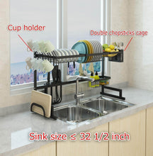Load image into Gallery viewer, Best seller  dish drying rack over sink display stand drainer stainless steel kitchen supplies storage shelf utensils holder kitchen supplies storage rack 85cm black