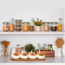 Load image into Gallery viewer, Great ruckae ceramic condiment jar spice container with bamboo lid porcelain spoon wooden tray set of 4 white 170ml5 8 oz perfect spice storage for home kitchen counter