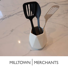 Load image into Gallery viewer, Amazon ceramic utensil holder kitchen utensil holder utensil crock utensil caddy container milltown merchants™ faceted white utensil holder