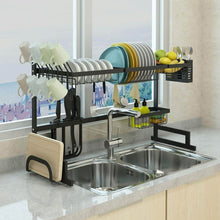 Load image into Gallery viewer, Top dish drying rack over sink display stand drainer stainless steel kitchen supplies storage shelf utensils holder kitchen supplies storage rack 85cm black